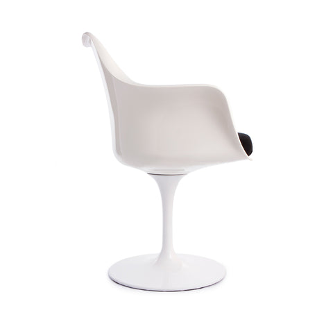 Tulip Arms Black Seat White Chair - directhomeliving