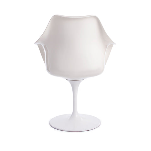Tulip Arms Blue Seat White Chair - directhomeliving