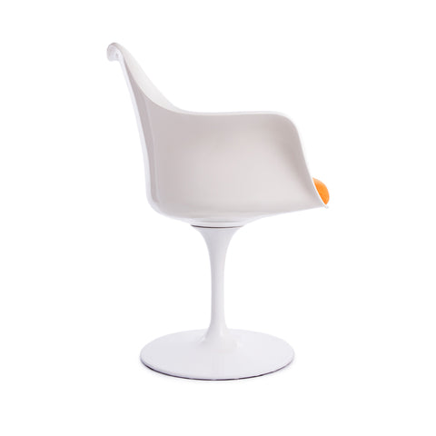 Tulip Arms Orange Seat White Chair - directhomeliving