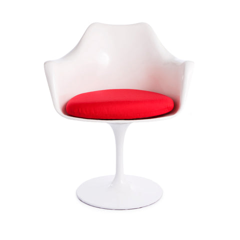 Tulip Arms Red Seat White Chair - directhomeliving