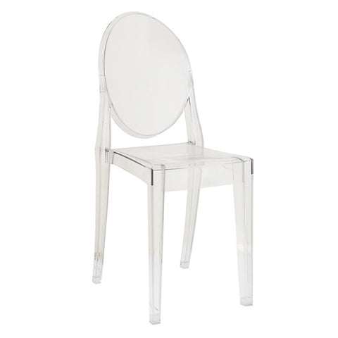 Ghost Style Clear Plastic Victoria Side Chair - directhomeliving