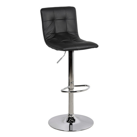 Vigo Contemporary Black Leather Bar Stool - directhomeliving