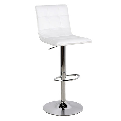 Vigo Contemporary White Leather Bar Stool - directhomeliving