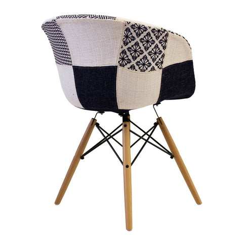 Vogue Style Monochrome Patch Fabric DAW Armchair - directhomeliving