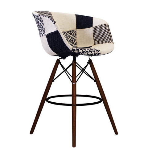 Vogue Style Tall Monochrome Fabric DAB Walnut Bar Stool