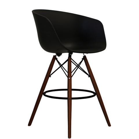 Vogue Style Tall Black Plastic DAB Walnut Bar Stool - directhomeliving