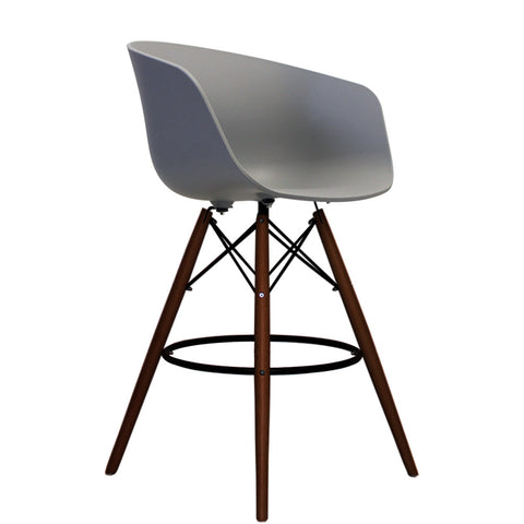 Vogue Style Tall Cool Grey Plastic DAB Walnut Bar Stool - directhomeliving