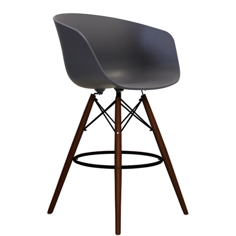 Vogue Style Tall Dark Grey Plastic DAB Walnut Bar Stool - directhomeliving