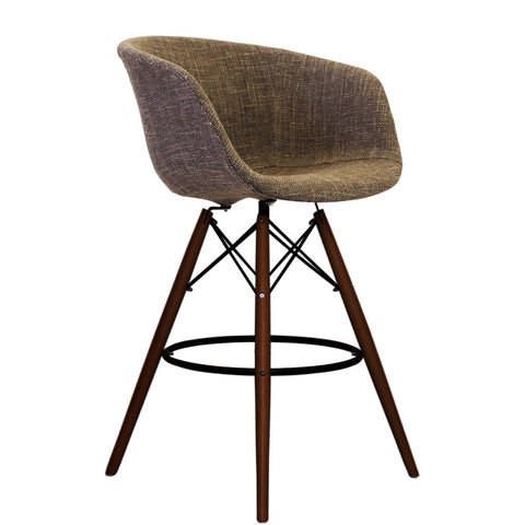 Vogue Style Tall Beige Fabric DAB Walnut Bar Stool