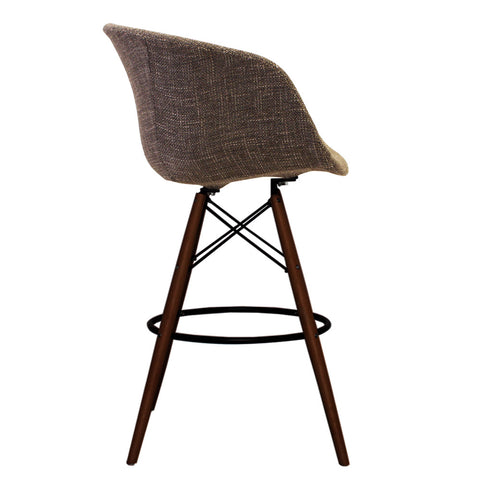 Vogue Style Tall Beige Fabric DAB Walnut Bar Stool - directhomeliving