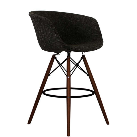 Vogue Style Tall Black Fabric DAB Walnut Bar Stool