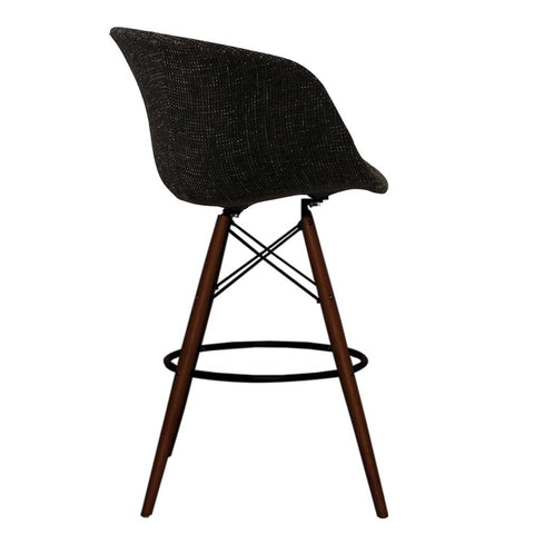 Vogue Style Tall Black Fabric DAB Walnut Bar Stool - directhomeliving