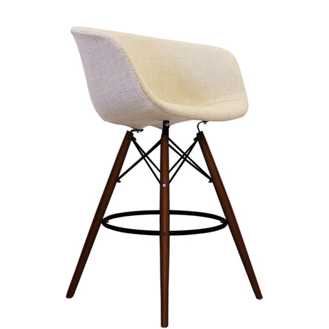 Vogue Style Tall Cream Fabric DAB Walnut Bar Stool