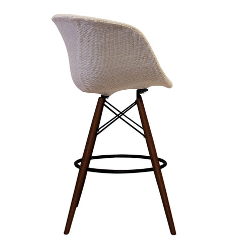 Vogue Style Tall Cream Fabric DAB Walnut Bar Stool - directhomeliving