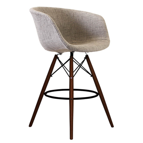 Vogue Style Tall Grey Fabric DAB Walnut Bar Stool - directhomeliving