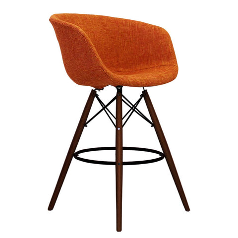 Vogue Style Tall Orange Fabric DAB Walnut Bar Stool - directhomeliving