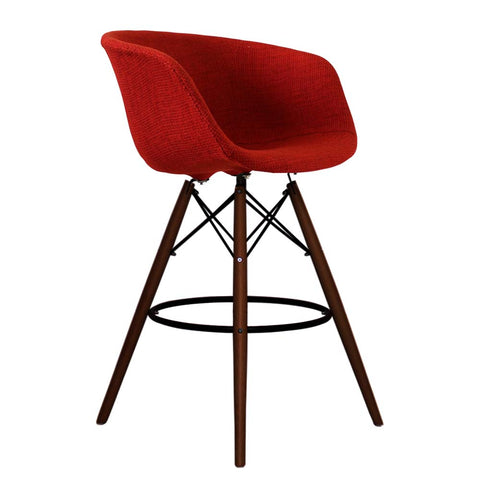 Vogue Style Tall Red Fabric DAB Walnut Bar Stool