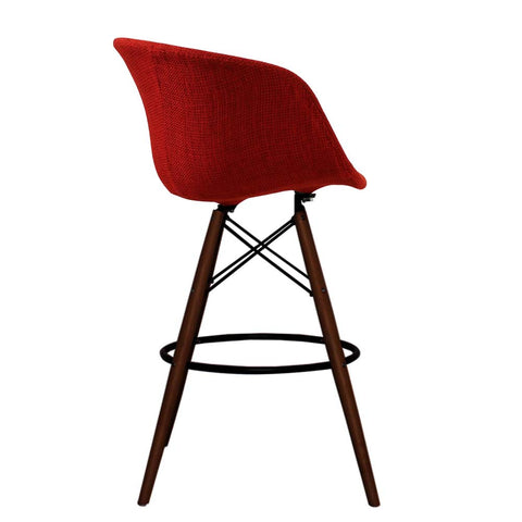 Vogue Style Tall Red Fabric DAB Walnut Bar Stool - directhomeliving