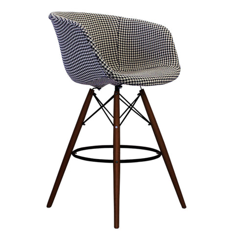 Vogue Style Tall Houndstooth Fabric DAB Walnut Bar Stool