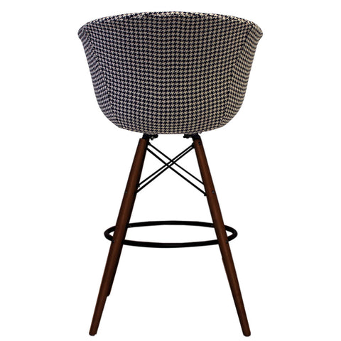 Vogue Style Tall Houndstooth Fabric DAB Walnut Bar Stool - directhomeliving