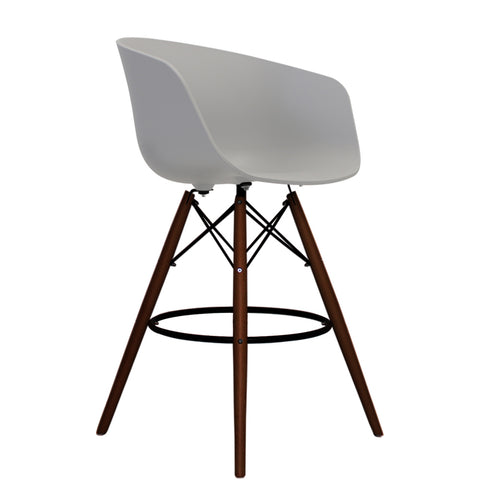 Vogue Style Tall Light Grey Plastic DAB Walnut Bar Stool - directhomeliving