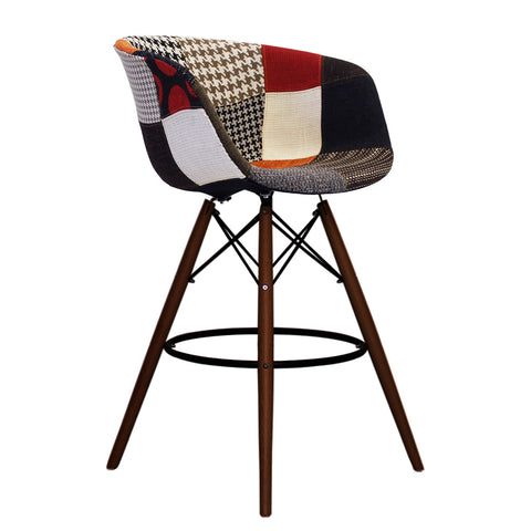 Vogue Style Tall Patchwork Fabric DAB Walnut Bar Stool