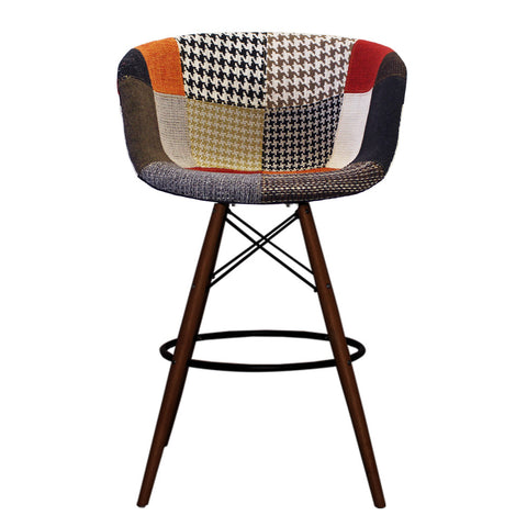 Vogue Style Tall Patchwork Fabric DAB Walnut Bar Stool - directhomeliving