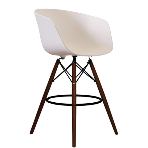 Vogue Style Tall White Plastic DAB Walnut Bar Stool