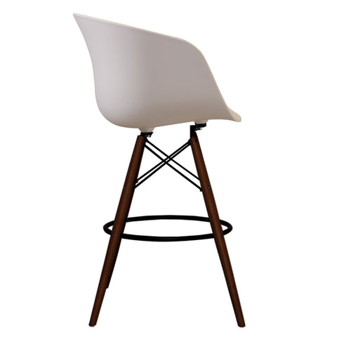 Vogue Style Tall White Plastic DAB Walnut Bar Stool - directhomeliving