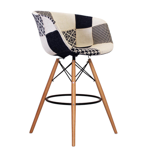 Vogue Style Tall Monochrome Fabric DAB Bar Stool - directhomeliving