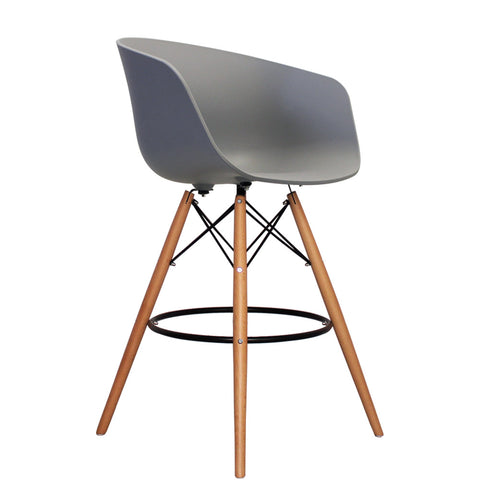 Vogue Style Tall Cool Grey Plastic DAB Bar Stool