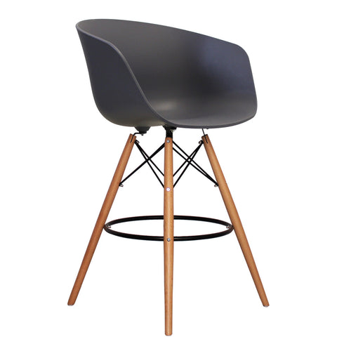 Vogue Style Tall Dark Grey Plastic DAB Bar Stool