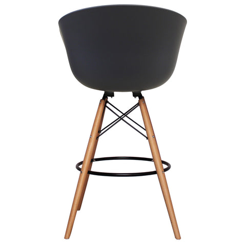 Vogue Style Tall Dark Grey Plastic DAB Bar Stool - directhomeliving
