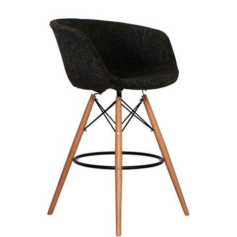 Vogue Style Tall Black Fabric DAB Bar Stool