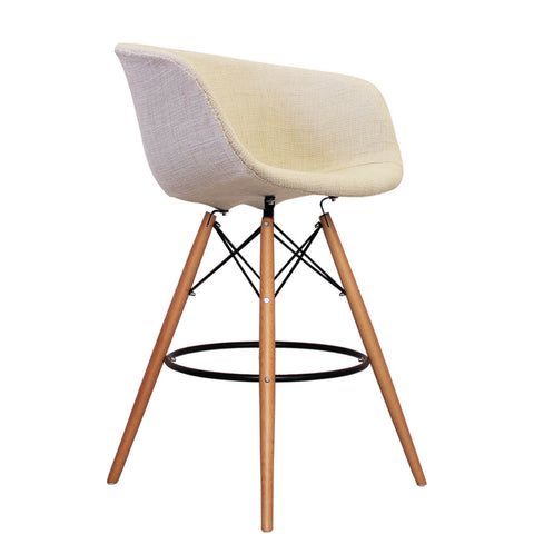 Vogue Style Tall Cream Fabric DAB Bar Stool