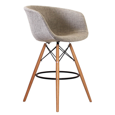 Vogue Style Tall Grey Fabric DAB Bar Stool