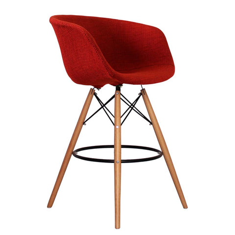 Vogue Style Tall Red Fabric DAB Bar Stool