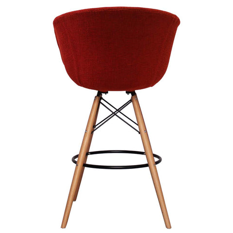 Vogue Style Tall Red Fabric DAB Bar Stool - directhomeliving