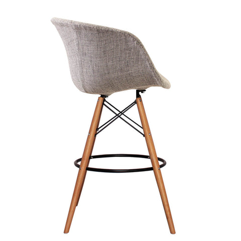 Vogue Style Tall Grey Fabric DAB Bar Stool - directhomeliving