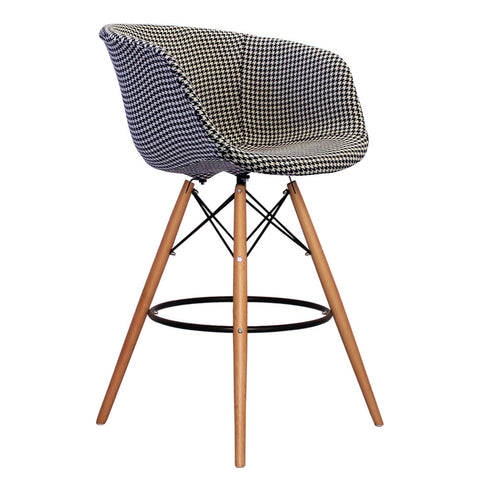 Vogue Style Tall Houndstooth Fabric DAB Bar Stool