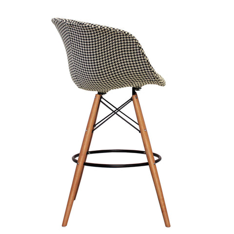 Vogue Style Tall Houndstooth Fabric DAB Bar Stool - directhomeliving