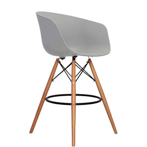 Vogue Style Tall Light Grey Plastic DAB Bar Stool - directhomeliving