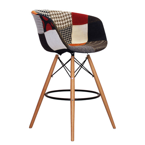 Vogue Style Tall Patchwork Fabric DAB Bar Stool