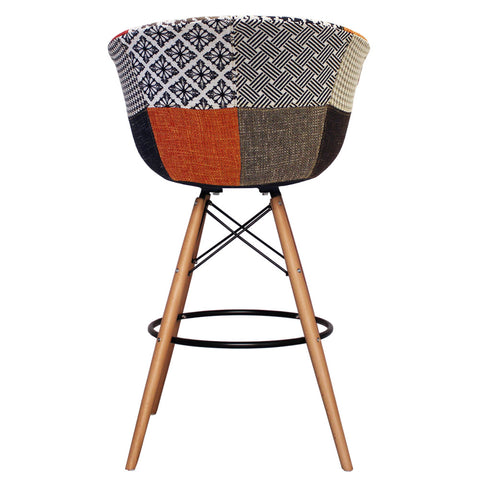 Vogue Style Tall Patchwork Fabric DAB Bar Stool - directhomeliving