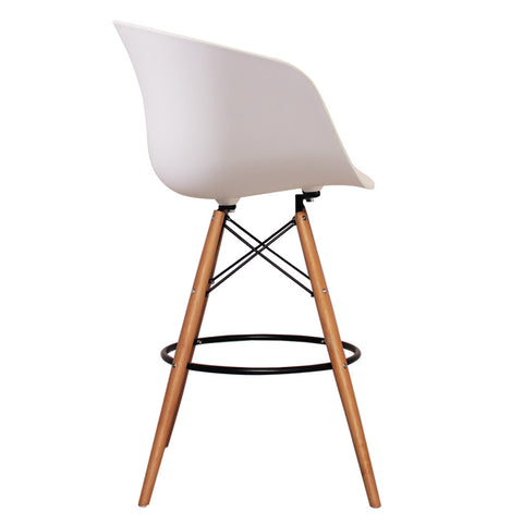 Vogue Style Tall White Plastic DAB Bar Stool - directhomeliving