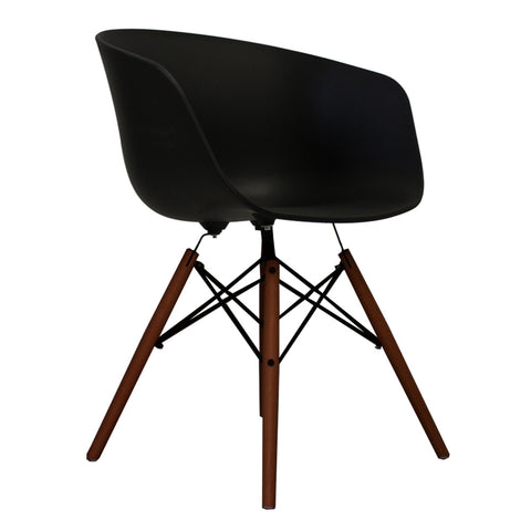 Vogue Style Black Plastic DAW Walnut Armchair - directhomeliving
