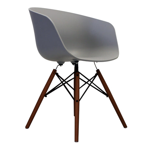 Vogue Style Cool Grey Plastic DAW Walnut Armchair - directhomeliving
