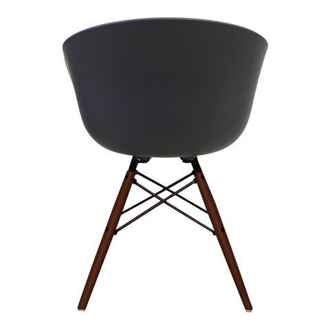 Vogue Style Dark Grey Plastic DAW Walnut Armchair - directhomeliving