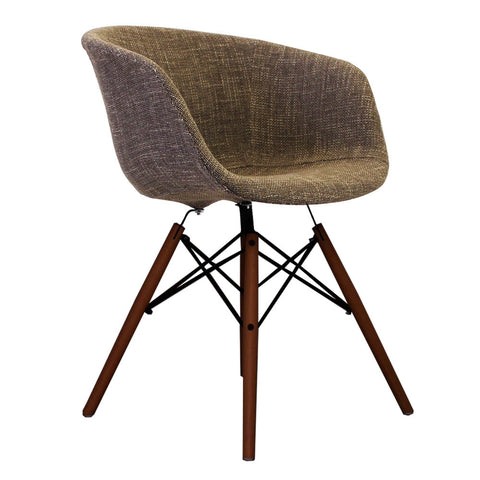 Vogue Style Beige Fabric DAW Walnut Armchair - directhomeliving