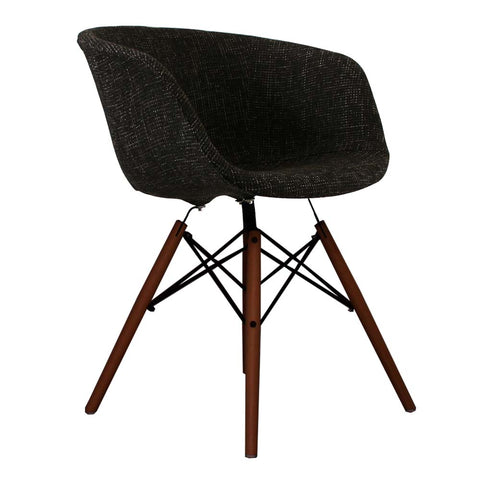 Vogue Style Black Fabric DAW Walnut Armchair - directhomeliving